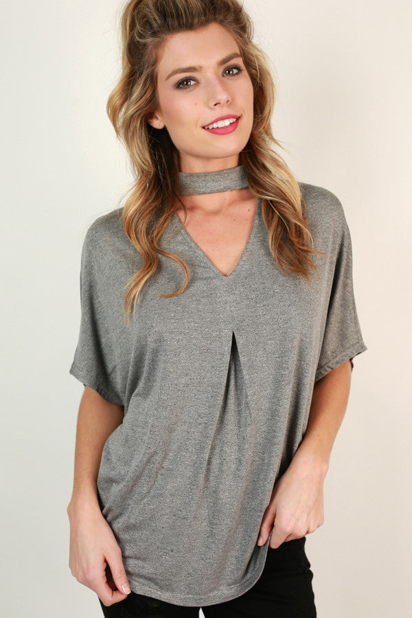 Turning Heads Cut Out Top in Dark Grey