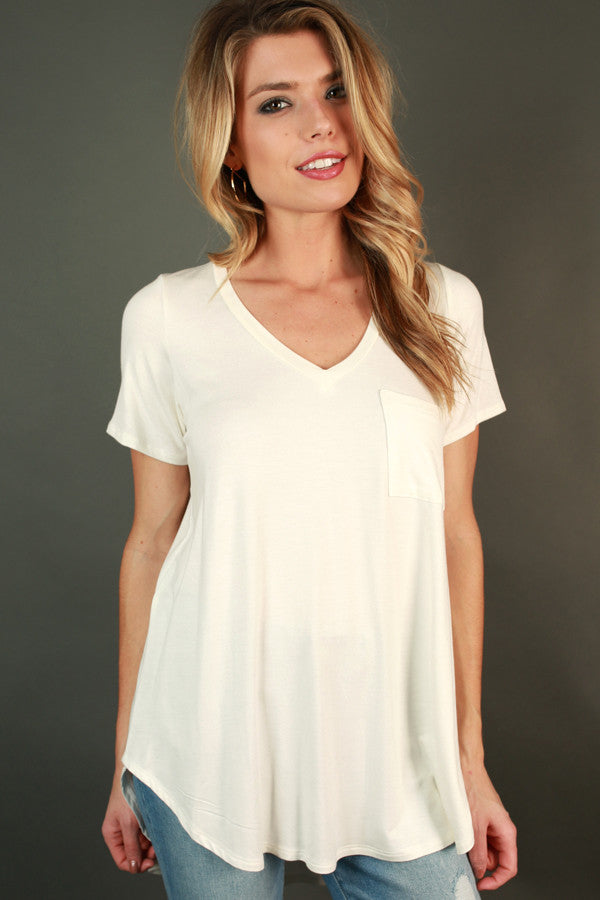 Pocket Perfect V-Tee in Ivory