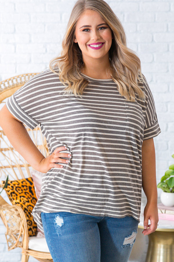 Make It Happen Stripe Tee in Taupe