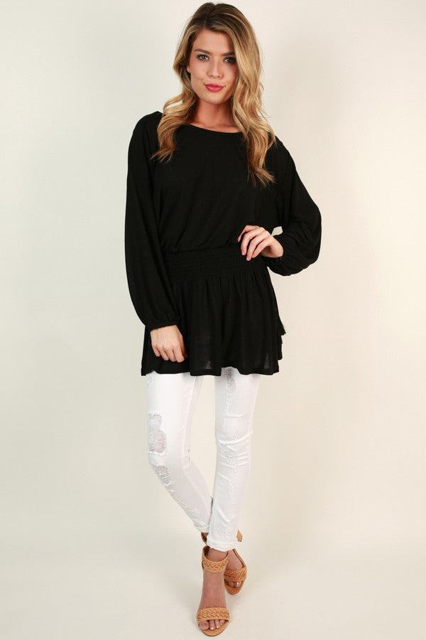 Brunching At The Beach Tunic in Black