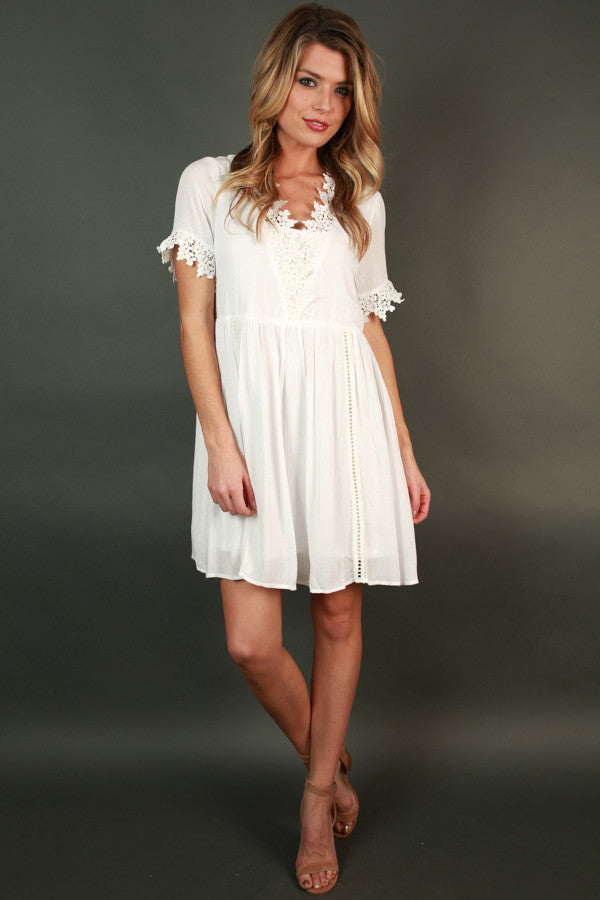 Strolling In Santorini Babydoll Dress