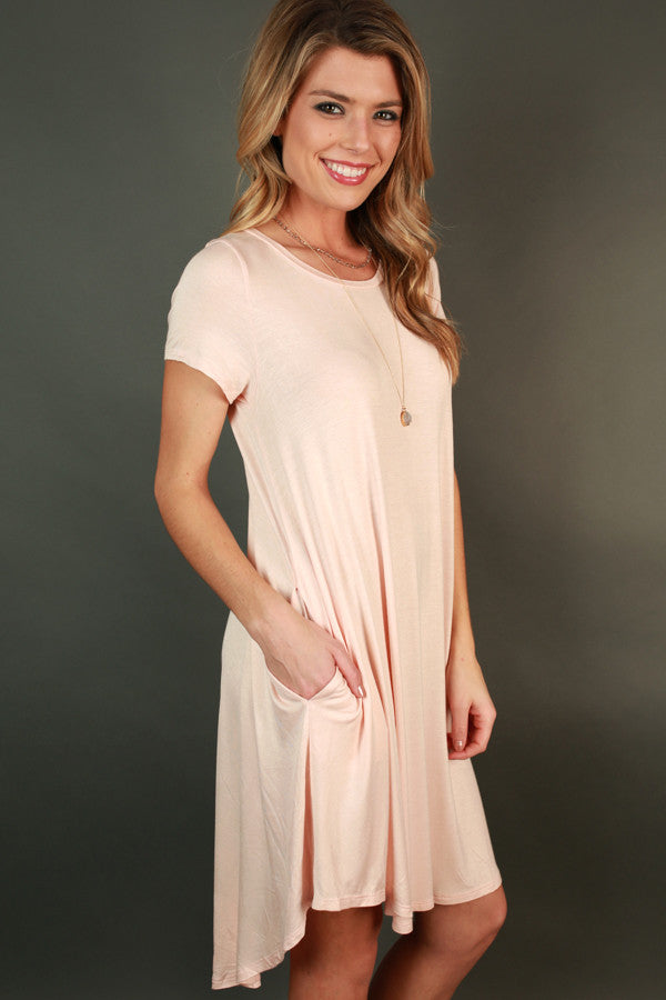 Back To Basics Shift Dress in Light Pink