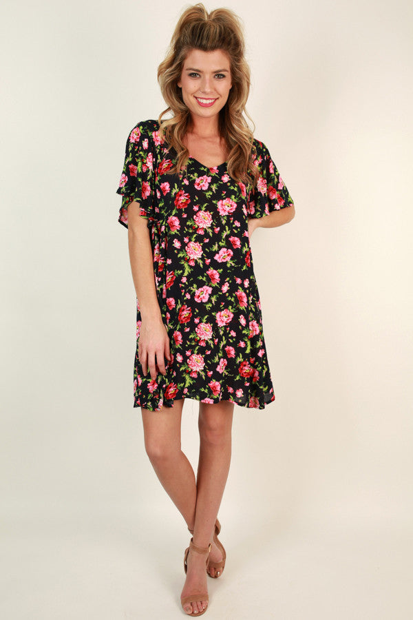 Petal Beauty Shift Dress in Navy