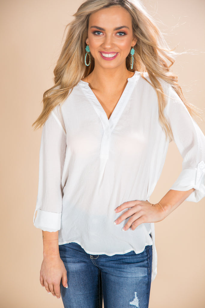 A Gentle Heart Shift Top In White