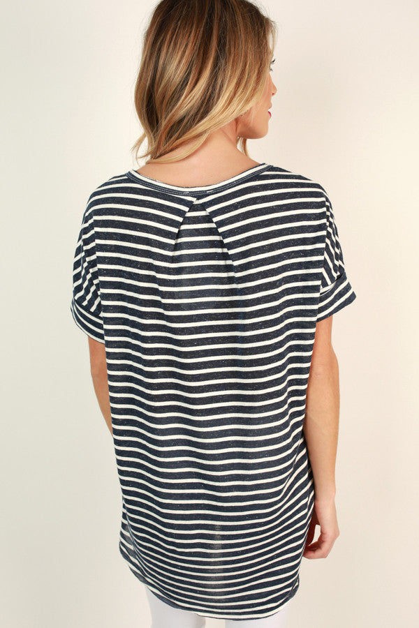 Make It Happen Stripe Tee in Navy