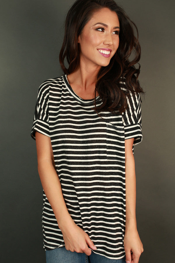 Make It Happen Stripe Tee in Black
