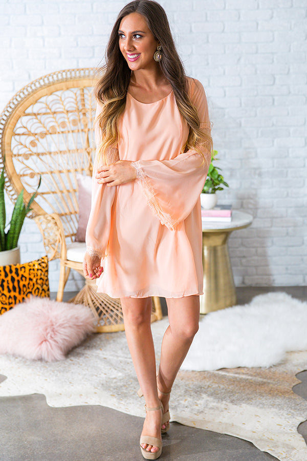 A Fairytale Ending Shift Dress in Peach