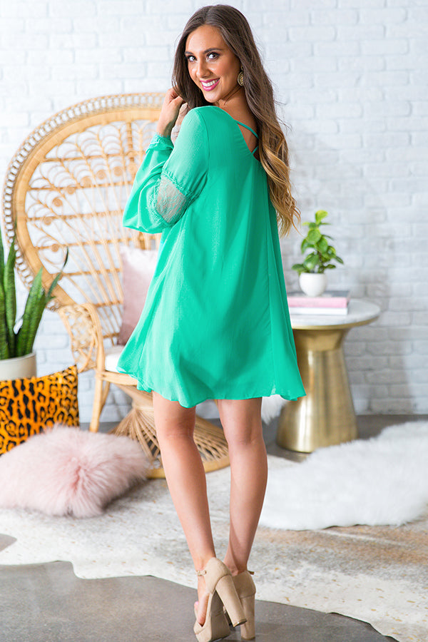 A Fairytale Ending Shift Dress in Light Jade