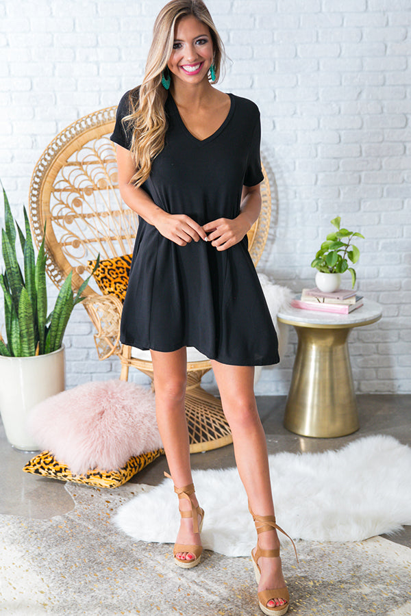 Perfect Fit Shift Dress in Black