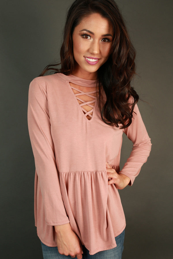 Lost In Love Cut Out Top In Blush