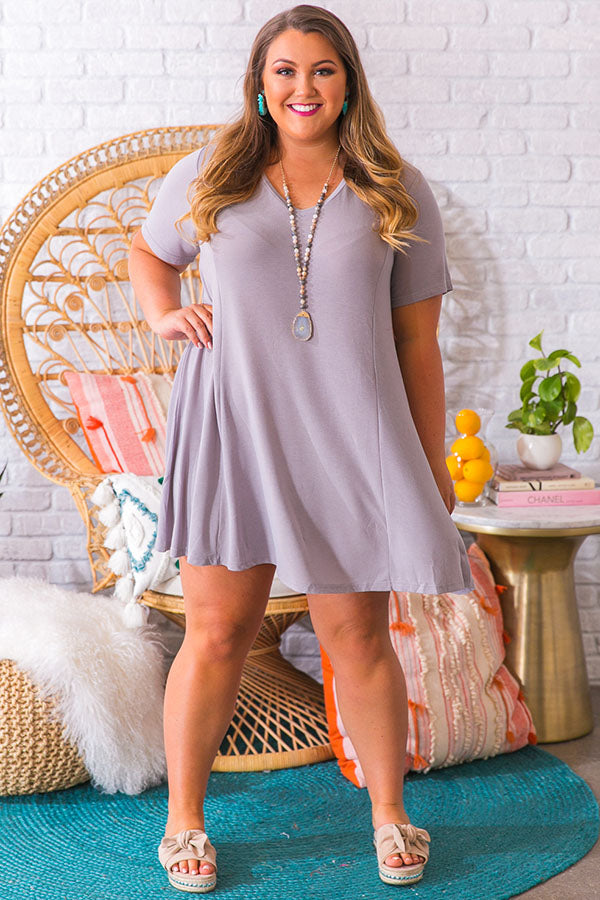 Perfect Fit Shift Dress in Grey