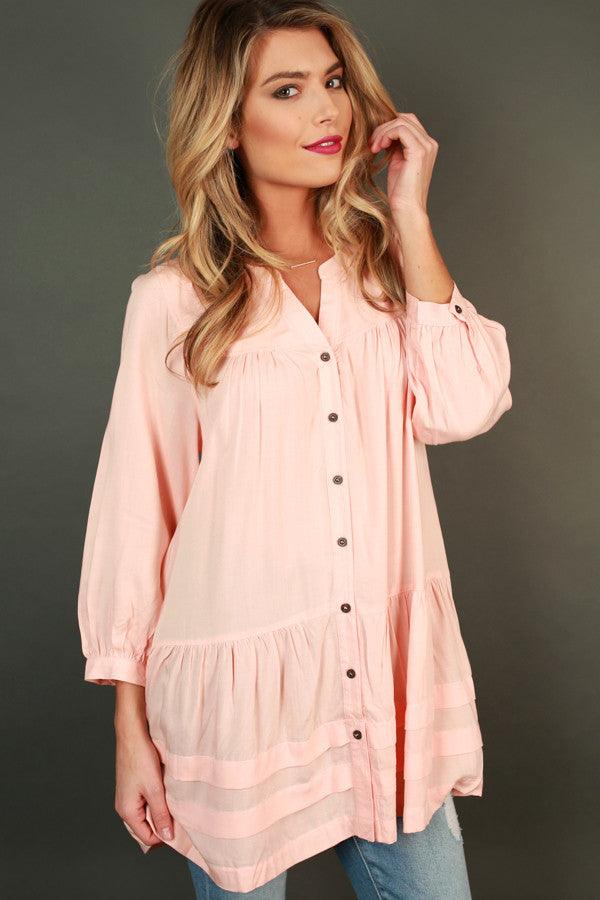 Give Me Some Sugar Babydoll Top In Peach