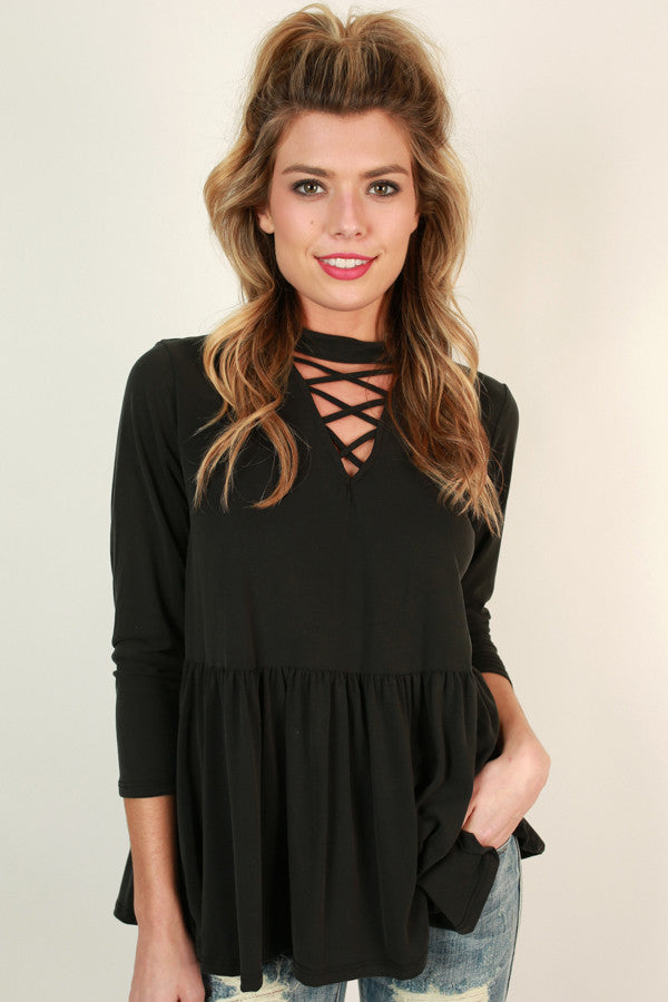 Lost In Love Cut Out Top In Black