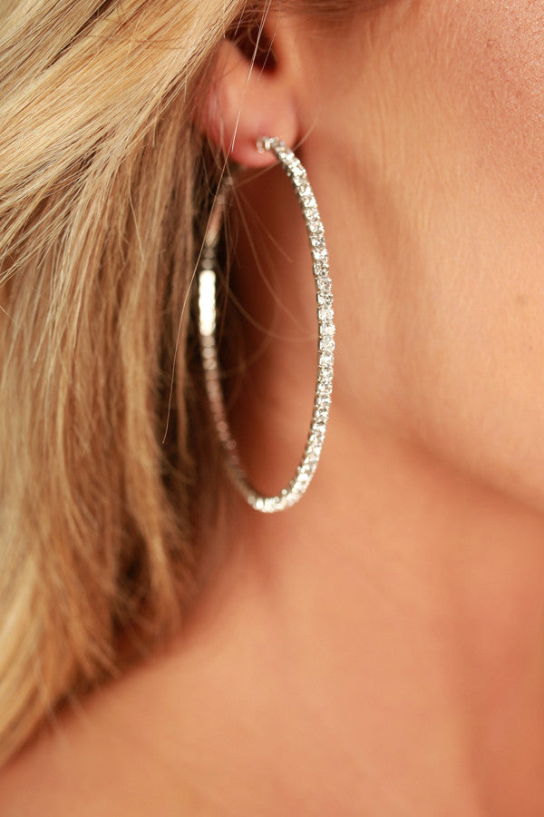 Front And Center Hoop Earrings In Silver