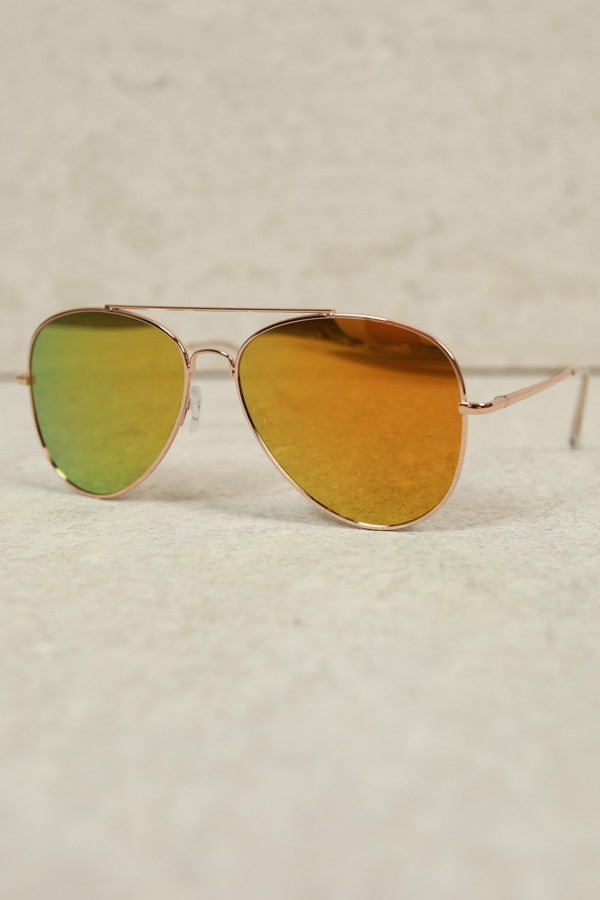 Beverly Hills Livin' Aviator Sunglasses In Marigold