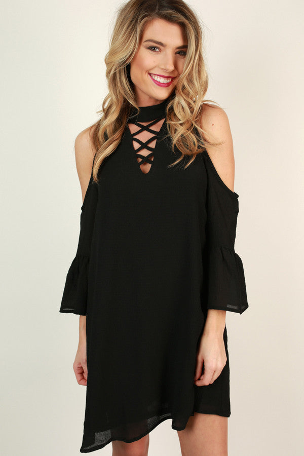 Sassy and Sweet Cold Shoulder Dress in Black
