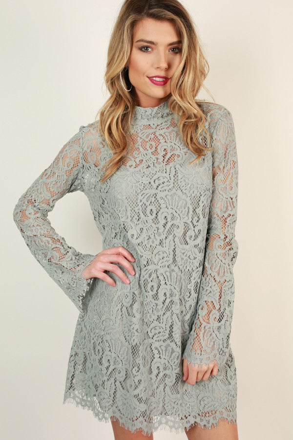 Walk My Way Lace Dress in Grey