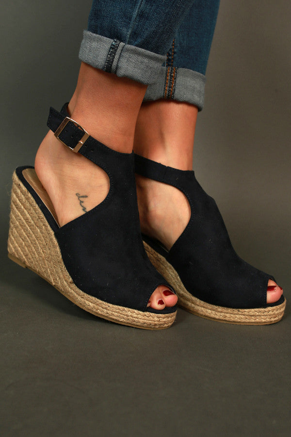 Full Of Sass Wedge in Navy