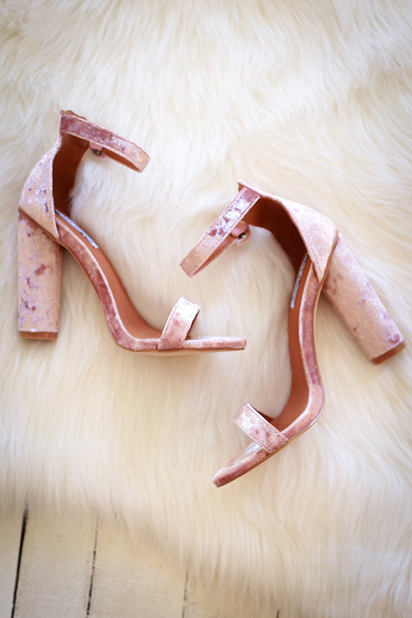 Royal Avenue Velvet Heel in Blush