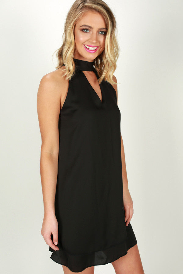 Time To Shine Shift Dress in Black