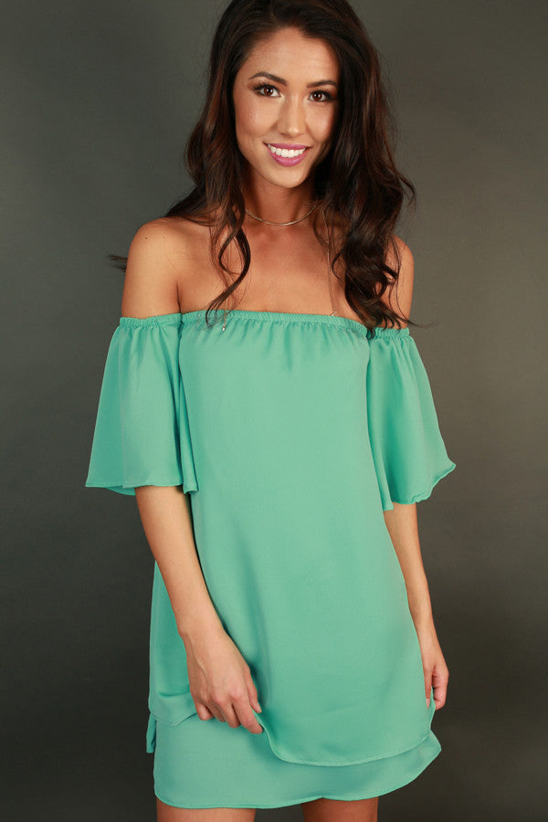 Love Struck Off Shoulder Dress in Ocean Wave