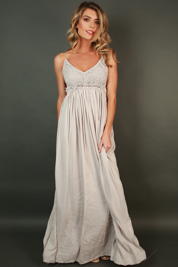 The Grand Reveal Maxi Dress in Grey