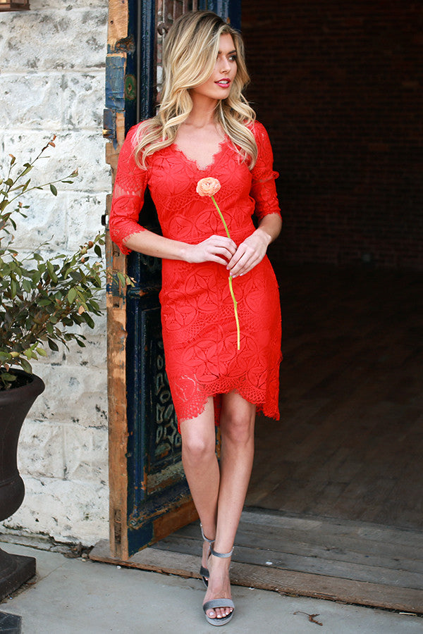 A-List Lovely Lace Dress in Red