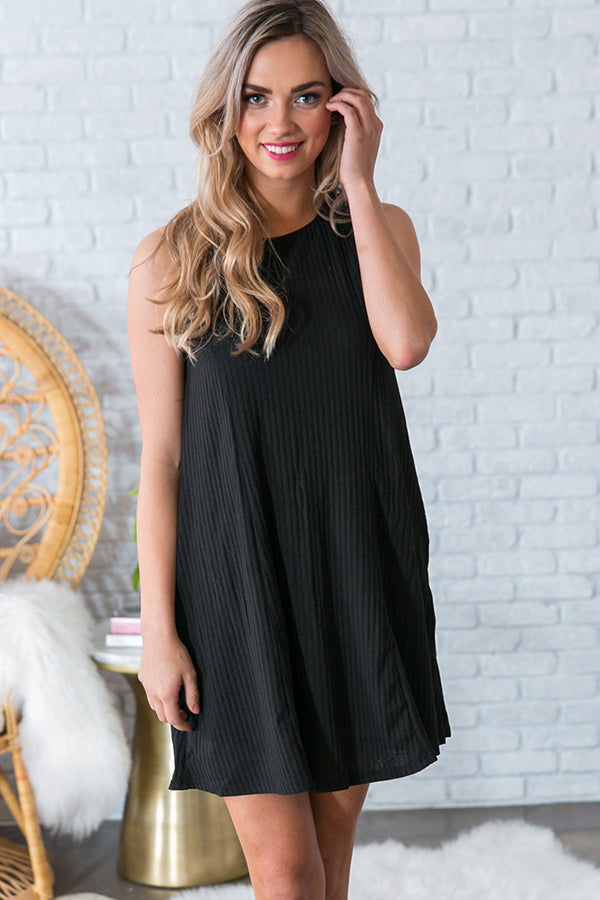 Take Me With You Lace Up Dress in Black