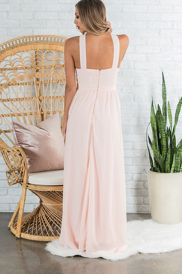 Dreaming Of Love Maxi Dress in Light Peach