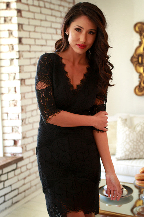 A-List Lovely Lace Dress in Black