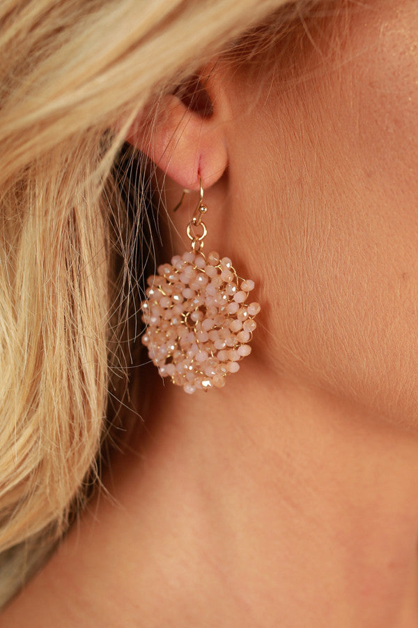 Devoted Love Earrings In Peach