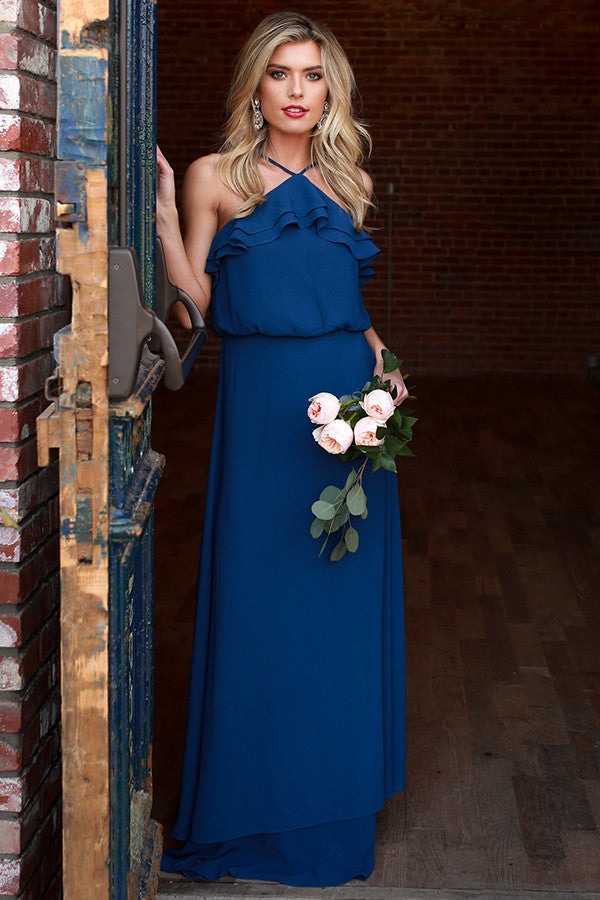 The Romantic One Maxi Dress in Navy