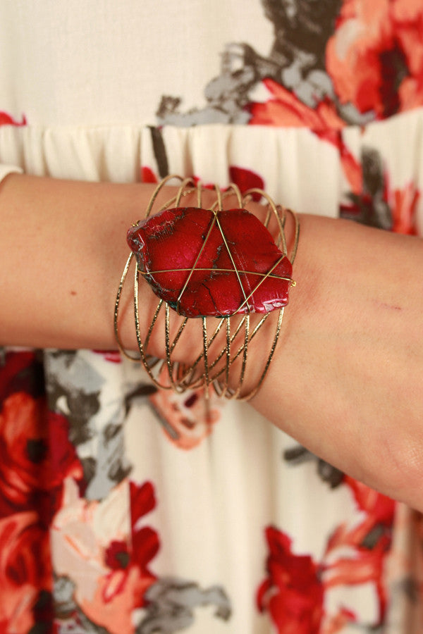 Hearts On Fire Cuff In Sangria