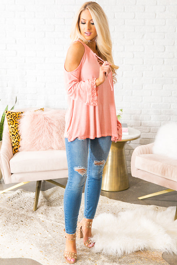 Let's Go Out And About Lace-Up Top in Peach