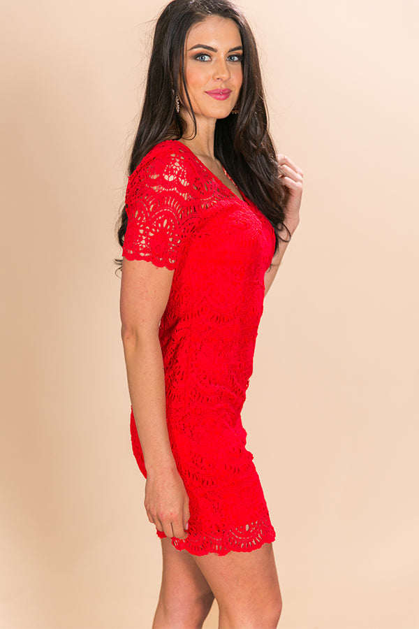 Love Story Crochet Dress in Red