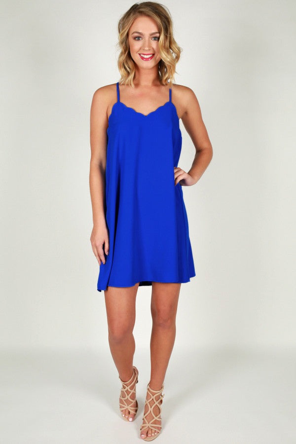 I Am Yours Forever Shift Dress in Royal Blue