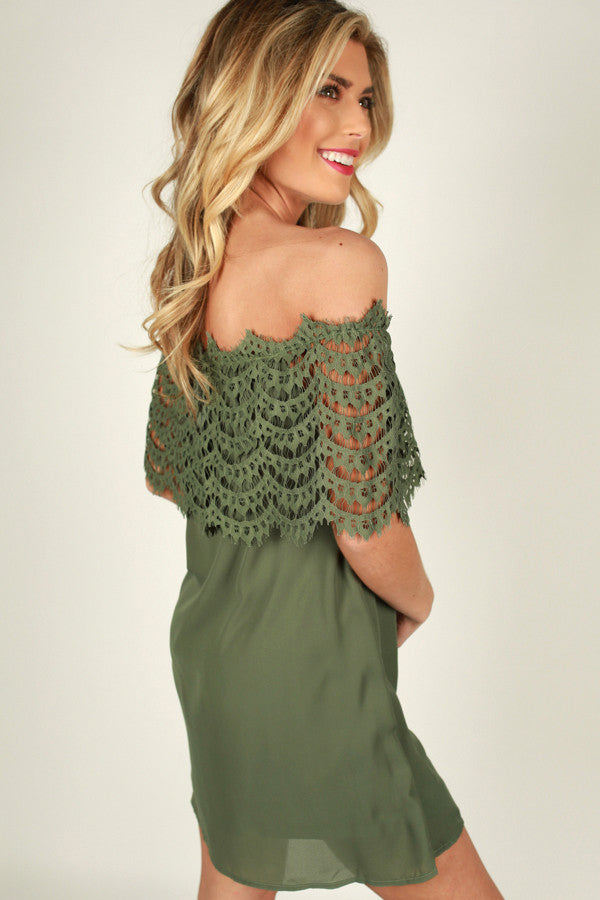 Blushing At You Off Shoulder Dress in Sage