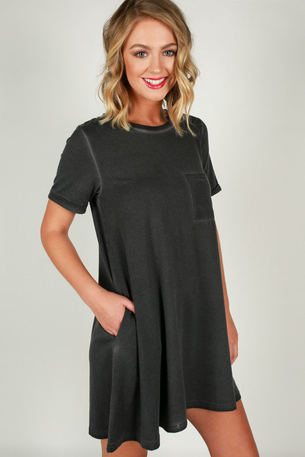 Evening On The Coast Shift Dress in Black