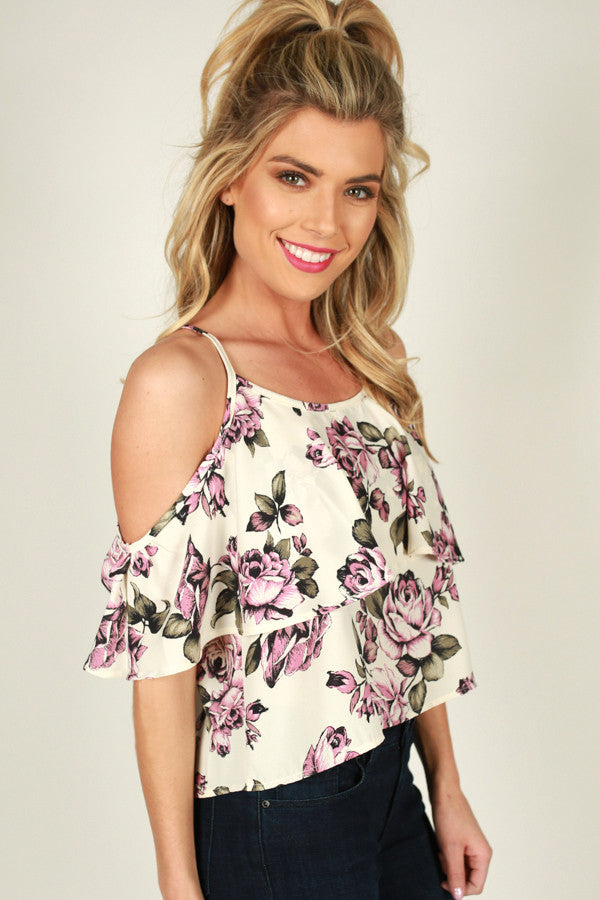 The Romantic Type Cold Shoulder Top