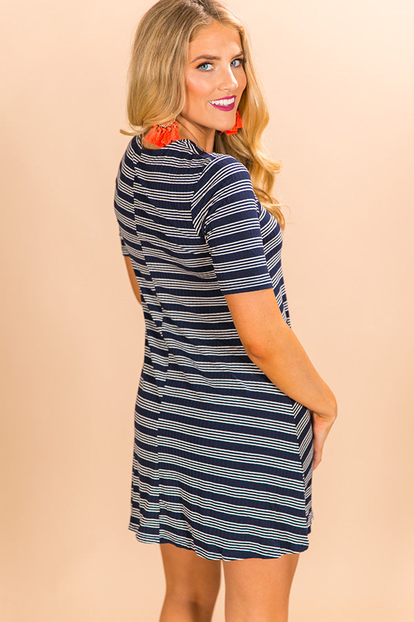 Stuck On You Lace Up Dress in Navy