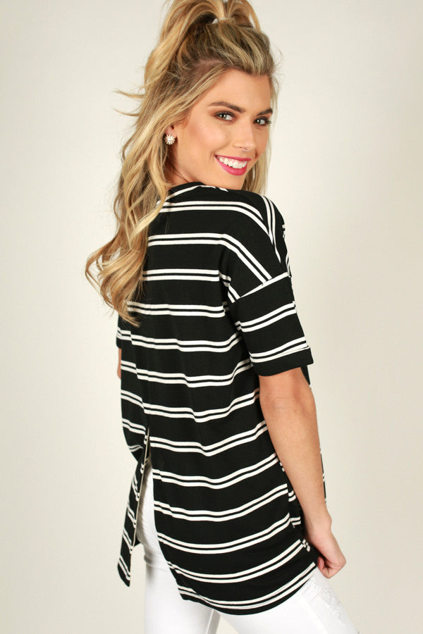 Now Or Never Stripe Top in Black