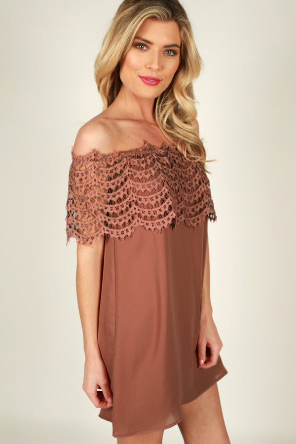 Blushing At You Off Shoulder Dress in Rustic Rose