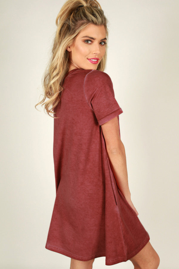 Evening On The Coast Shift Dress in Red