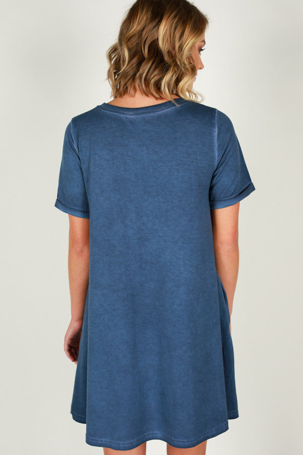 Evening On The Coast Shift Dress in Blue
