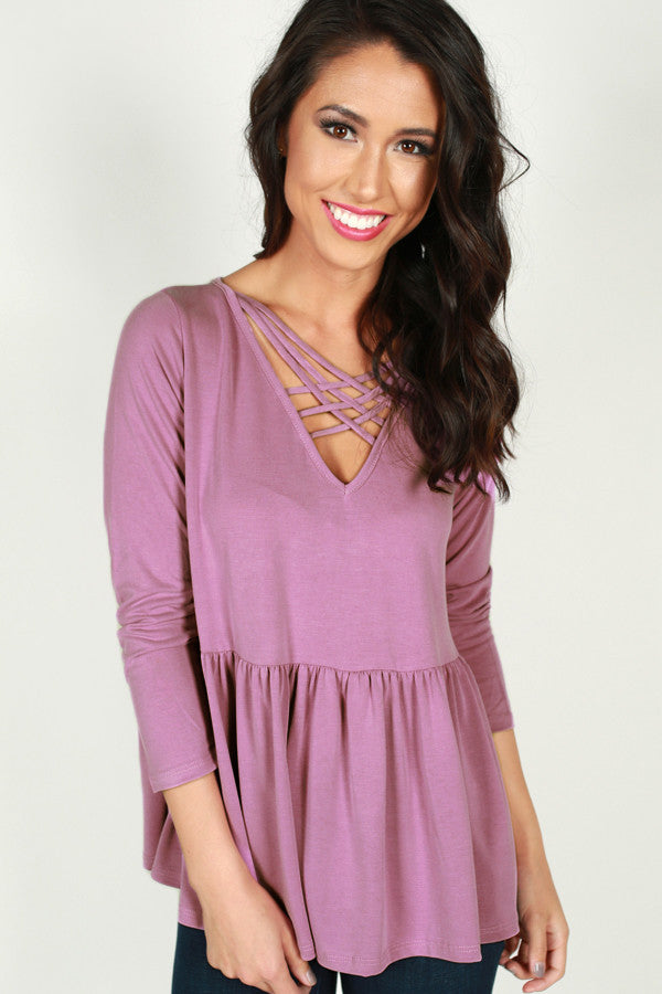 A Way With Words Babydoll Top in Orchid
