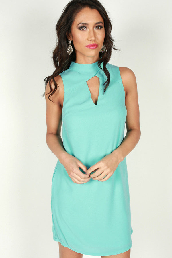 Blushing At You Dress in Aqua
