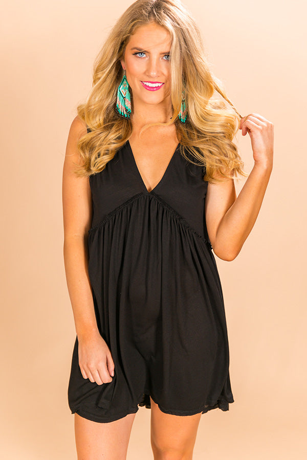 Time Well Spent Babydoll Dress in Black