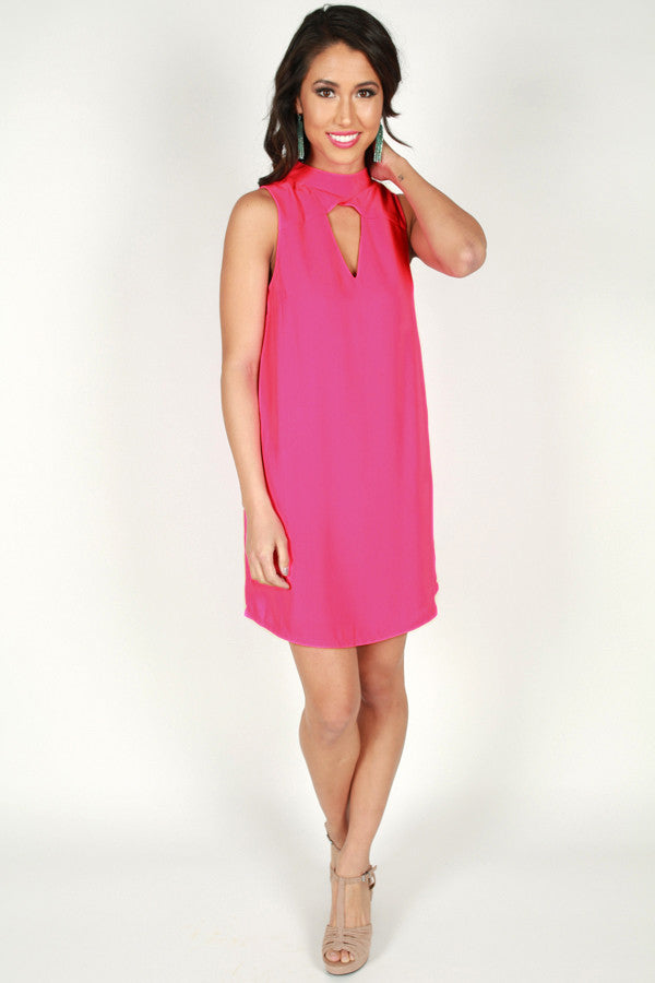 Blushing At You Dress in Fuchsia