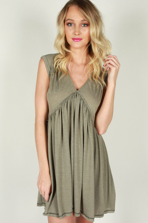 Time Well Spent Babydoll Dress in Sage