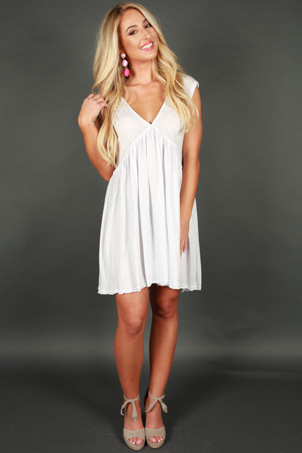 Time Well Spent Babydoll Dress in White